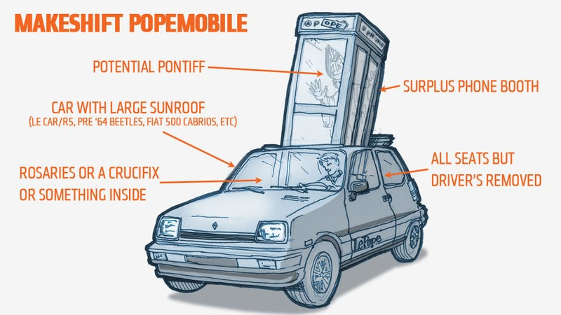 Illustration for article titled How To Make A Quick, Makeshift Popemobile