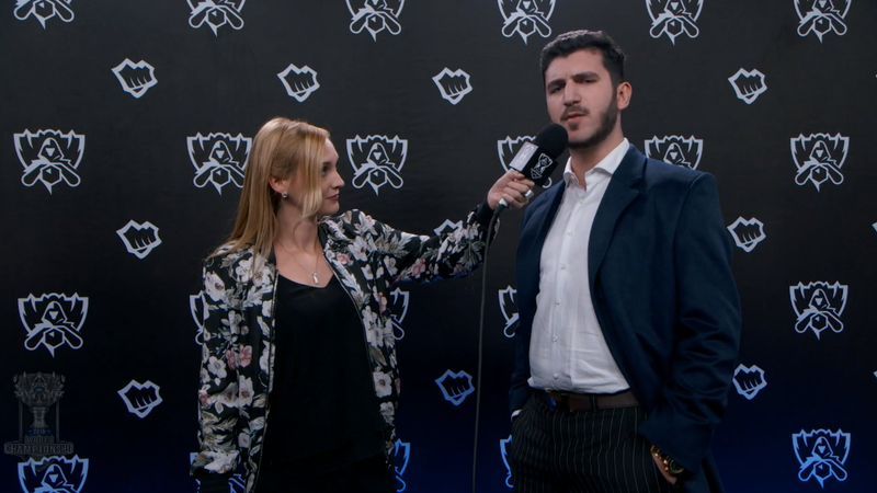 Jakob 'YamatoCannon' Mebdi (right) telling the remaining European teams at Worlds what they must do in order to go the distance.