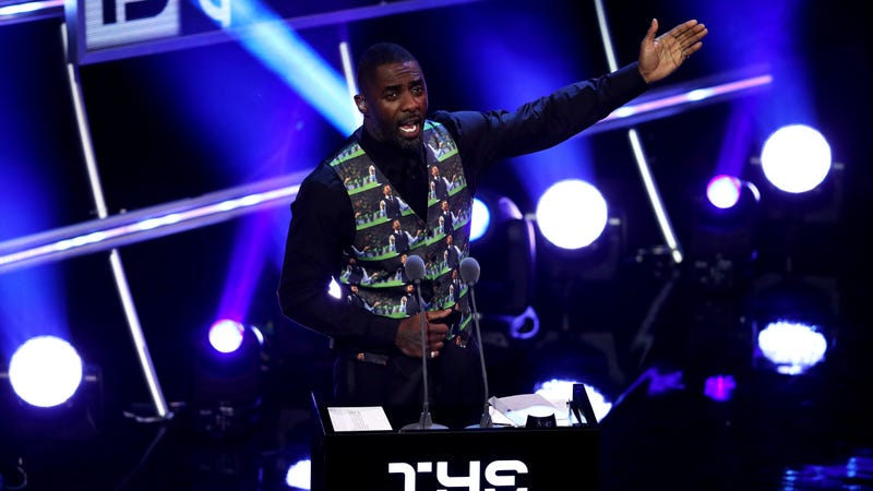 Idris Elba addresses the crowd during the The Best FIFA Football Awards Show on September 24, 2018 in London, England.