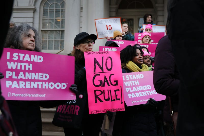 Pro-choice activists, politicians and others associated with Planned Parenthood gather for a news conference and demonstration at City Hall against the Trump administrations title X rule change on February 25, 2019, in New York City.