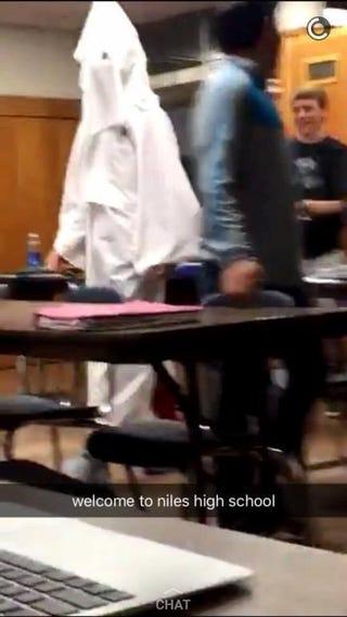 Snapchat photo of student in Niles High School dressed as Ku Klux Klan memberABC57