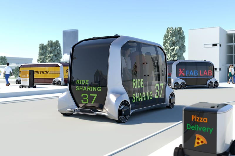 """Toyota's horrifying """"mobility concept"""" future. Not pictured: me swerving around it in an MR2, middle finger through the T-top"""
