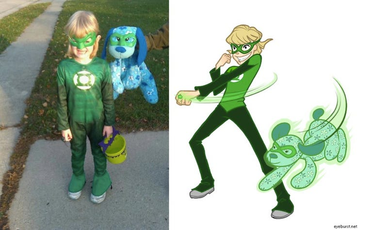 Illustration for article titled Artist transforms little girls in superhero costumes into super art
