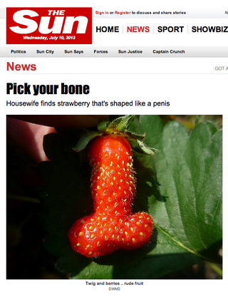Illustration for article titled OMG This Strawberry Looks Like a Penis