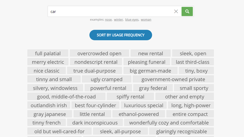 Describing Words Finds Adjectives For the Noun You're Writing About