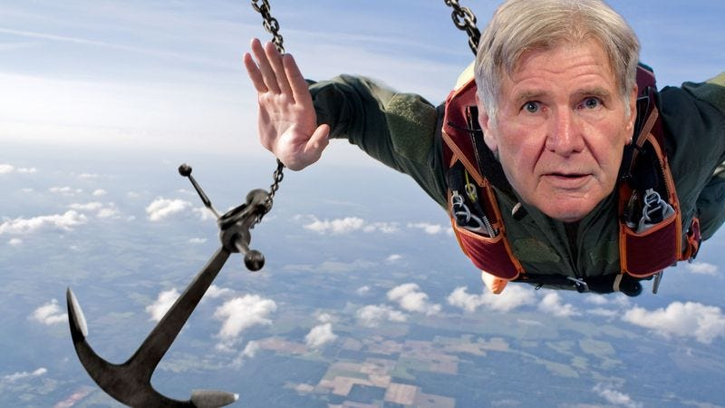 Illustration for article titled Lucky To Be Alive: Harrison Ford Went Skydiving And His Parachute Turned Out To Be An Anchor