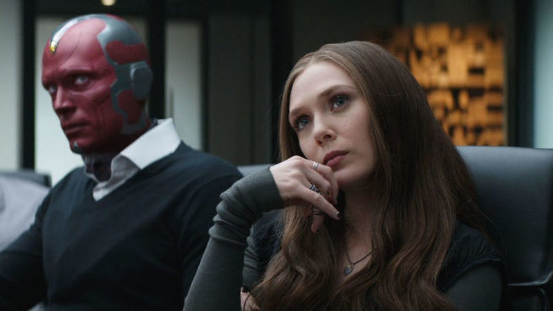 Paul Bettany as the Vision and Elizabeth Olsen as the Scarlet Witch.