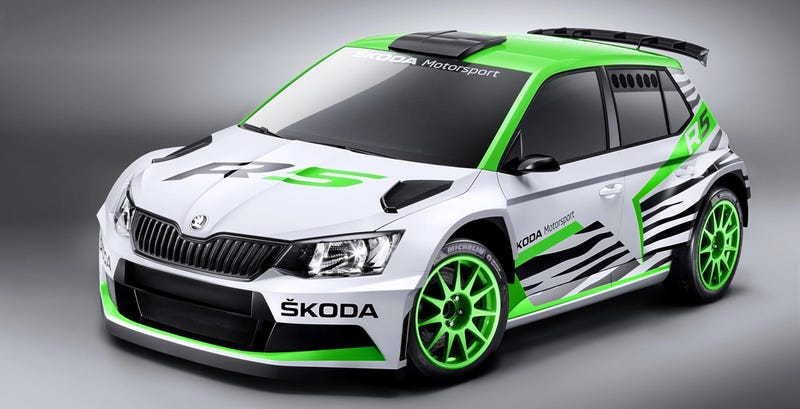 Illustration for article titled Skoda's New Rally Car Is A Ferocious Speed-Zebra