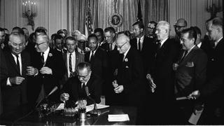 President Lyndon Johnson signs the Civil Rights Act on July 2, 1964.Cecil Stoughton/White House Press Office