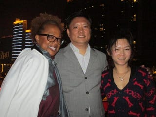 Paula Madison with relatives Wei Min Chen and Siqi Luo in Guangzhou, China, in January 2014Courtesy of Madison Media Management