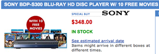 Illustration for article titled Dealzmodo: Sony BDP-S300 Blu-ray Player $348 With 10 Free Movies