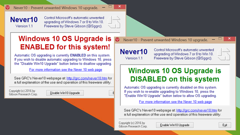 Illustration for article titled Never10 Prevents Windows 7 and 8.1 from Automatically Upgrading to Windows 10