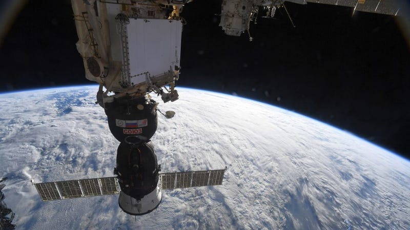 The Soyuz MS-09 crew spacecraft docked to the ISS.
