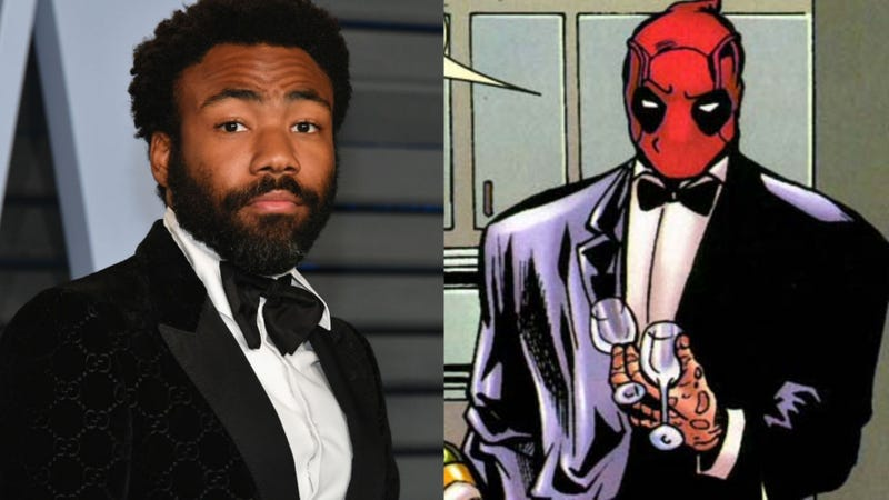 From left to right: Dapper Donald Glover and Deadpool.