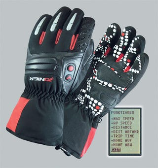 Illustration for article titled GPS Ski Gloves Place the Display On the Tip Of Your Thumb