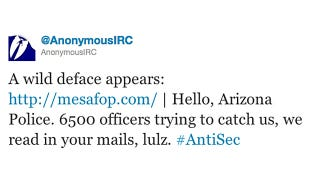 Illustration for article titled Anonymous Continues Its Fraternal Ownage of The Arizona Police