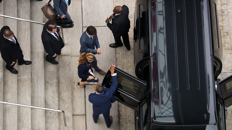 Trudeau getting into his motorcade. Photo credit: Getty Images