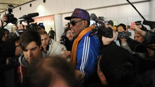 Dennis Rodman arrives at Beijing International Airport from North Korea on Jan. 13, 2014.WANG ZHAO/AFP/Getty Images