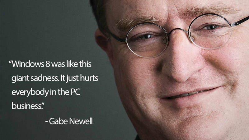 """Illustration for article titled Windows 8 Was A """"Giant Sadness"""", Says Valve Boss Gabe Newell"""