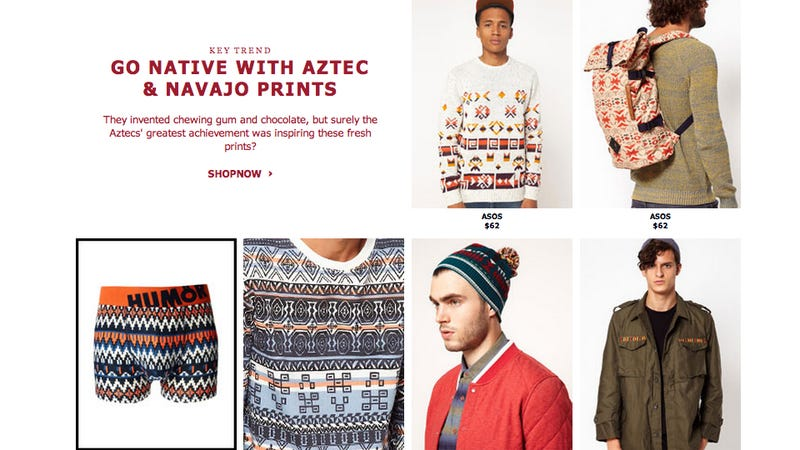 Illustration for article titled Here We Go Again: ASOS Debuts Tasteful 'Go Native' Navajo-Inspired Line