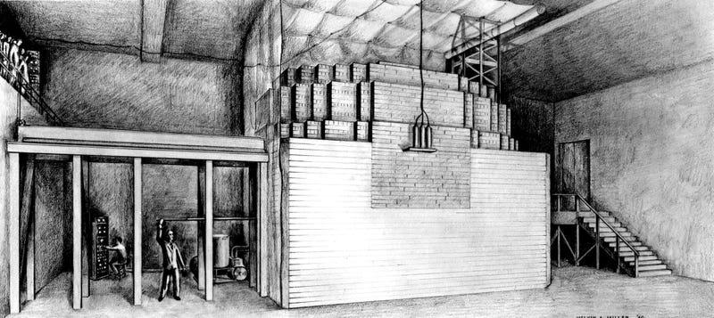 Illustration for article titled Así era el primer reactor nuclear de la historia, construido bajo las gradas de un estadio en medio de Chicago