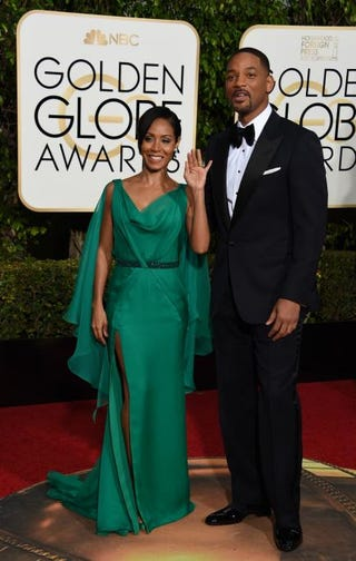 Jada Pinkett Smith, and Will Smith arrive for the 73nd annual Golden Globe Awards, January 10, 2016, at the Beverly Hilton Hotel in Beverly Hills, California.Photo by VALERIE MACON/AFP/Getty Images