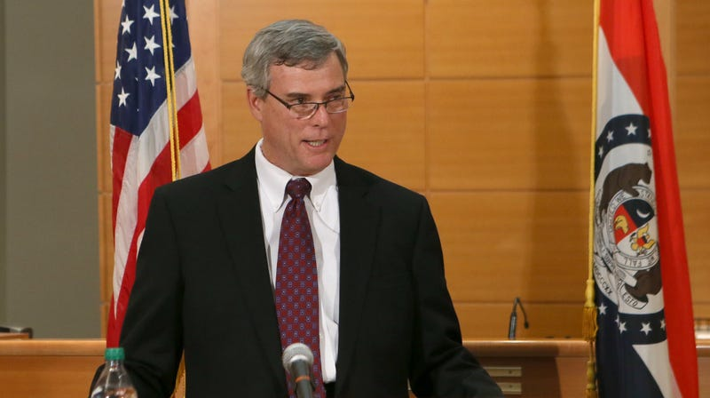 St. Louis County Prosecutor Robert McCulloch announces the grand jury's decision not to indict Ferguson police officer Darren Wilson in the shooting death of Michael Brown on November 24, 2014, at the Buzz Westfall Justice Center in Clayton, Missouri
