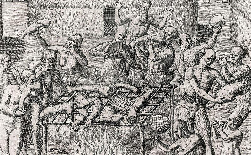 Canibalismo, ilustración de Hans Staden