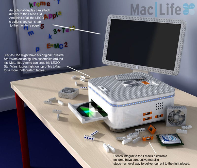 Illustration for article titled Lego Mac, Tri-Screen MacBook, and Other Cool Apple Prototypes