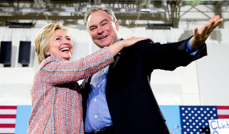 Clinton and Kaine at a rally in Virginia last week. Image via AP.