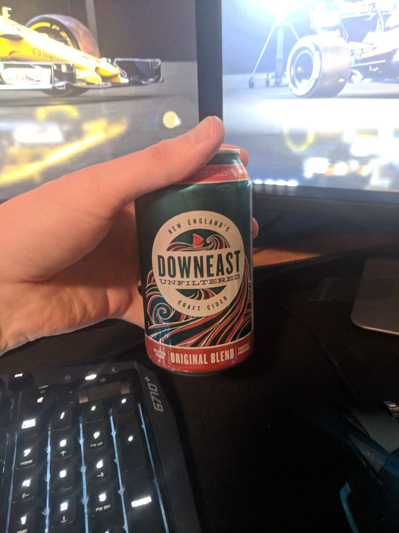 Tonight's beverage of choice, a Downeast Hard Cider. This is my current favorite alcoholic beverage