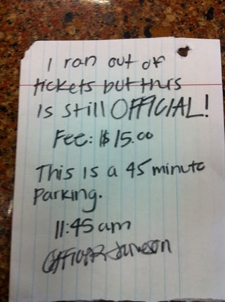 Illustration for article titled Would You Pay This Hand-Written Parking Ticket?