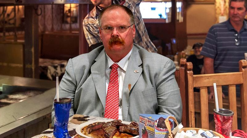 Illustration for article titled Andy Reid Furious At Self For Poor Clock Management At End Of 72-Oz. Steak Challenge