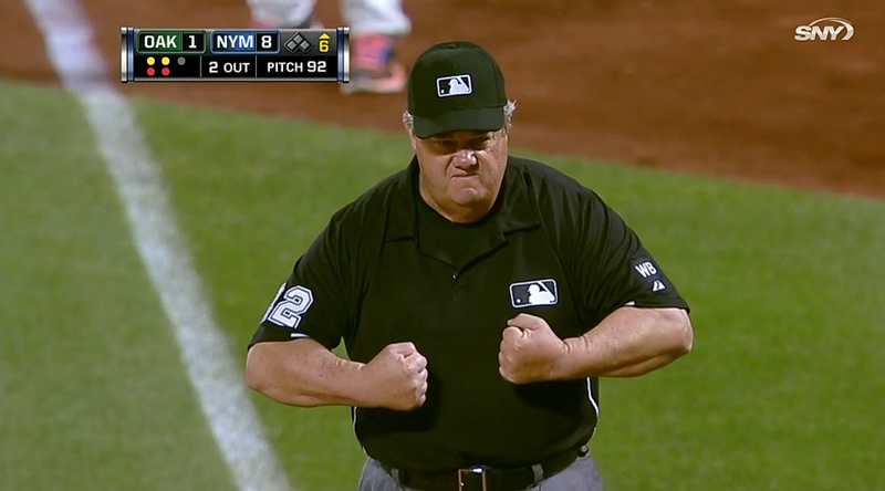 Illustration for article titled Umpire Takes A Foul Ball To The Chest, Flexes