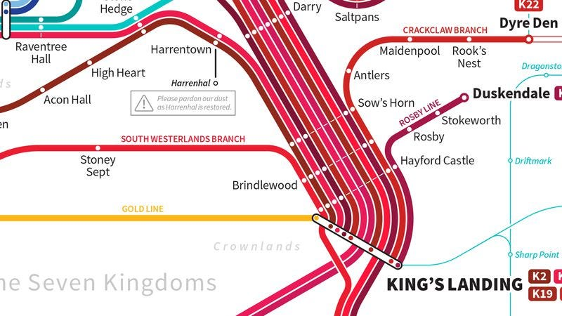 Illustration for article titled Here's a map of the would-be mass transit system in Game Of Thrones' Westeros