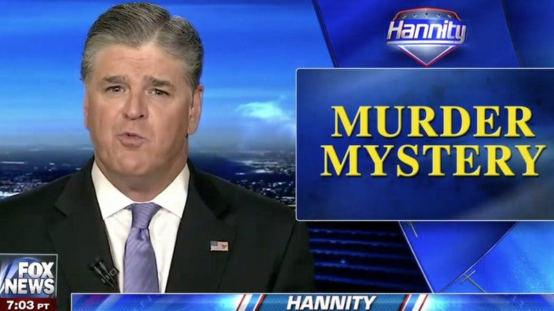 Fox News' Sean Hannity has some spooky fun with a murdered man.