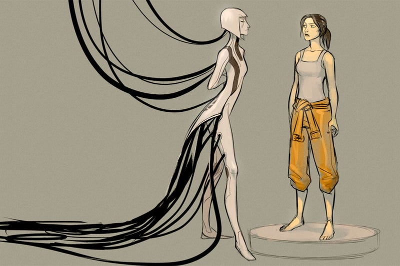 Portal 2 S Glados Takes On Her Slinky Creepy Lady Form