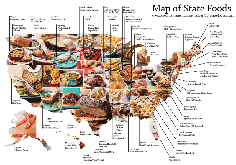 Illustration for article titled The delicious map of the dishes that best represent each state
