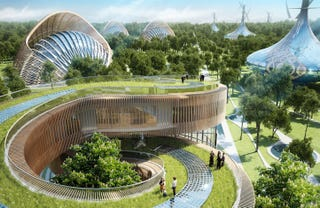 Illustration for article titled These Futuristic Villas Would Produce More Energy Than They Consume