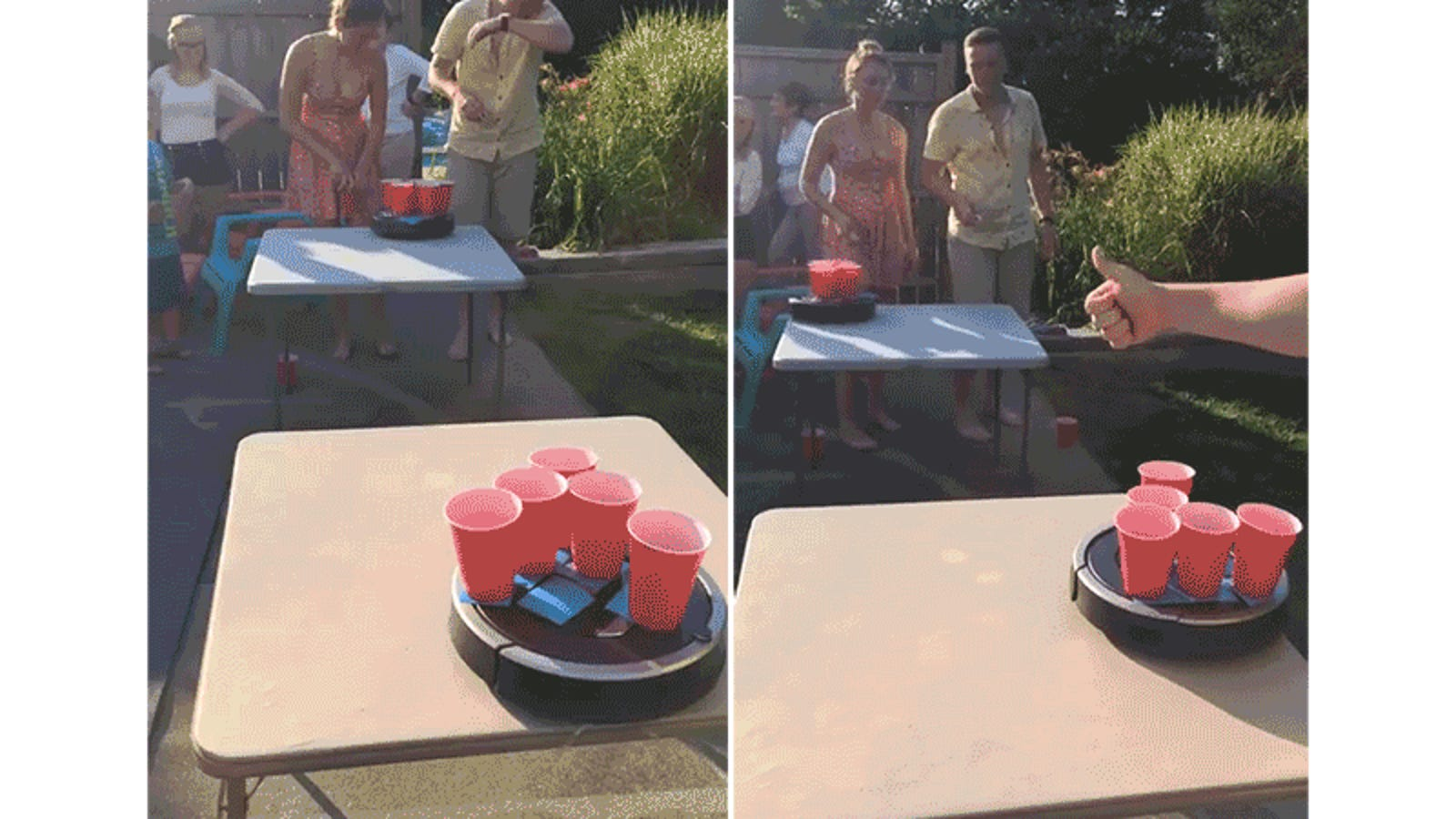 adding rolling roombas to beer pong looks crazy fun