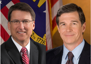 North Carolina Gov. Pat McCrory, a Republican, and his Democratic challenger Roy CooperWWAY TV3 screenshot