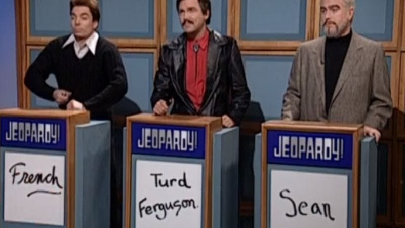 """Illustration for article titled A Jeopardy! contestant made Alex Trebek say the words """"Turd Ferguson"""""""
