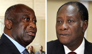 Laurent Gbagbo contests Alassane Ouattara's presidential victory.