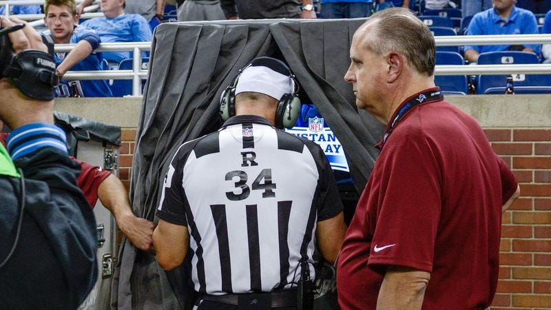 Illustration for article titled NFL Still Removing Confused Replacement Referees From Replay Booths
