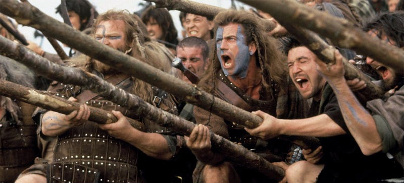 "Freedooooom from toll roads! Pictured: ""Pikes."" (Image: Braveheart)"