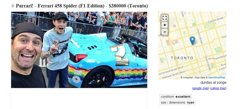 Illustration for article titled Deadmau5 Is Selling His Nyan Cat Ferrari On Craigslist For $380,000