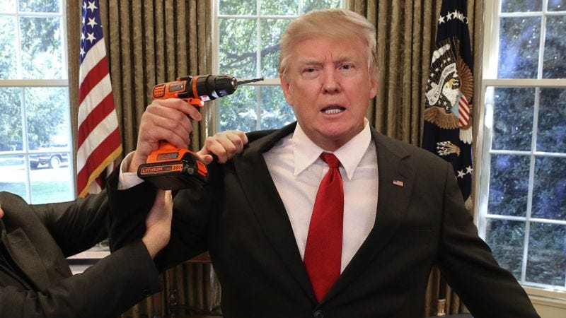 Illustration for article titled Aides Wrestle Drill From Trump's Hands As He Tries To Remove Obama Listening Device From Skull