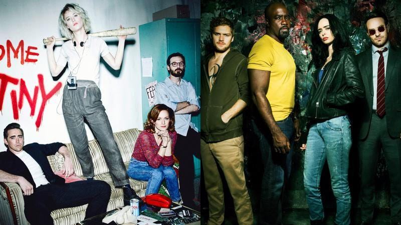 The casts of Halt And Catch Fire (Photo: AMC) and The Defenders (Photo: Netflix)