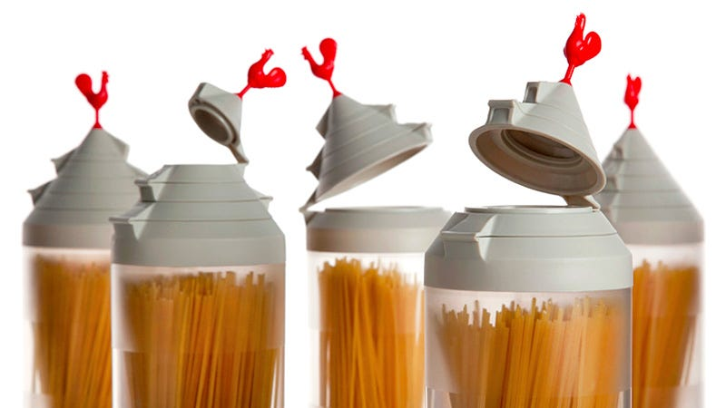 Illustration for article titled Multi-Hinged Cap Always Pours the Perfect Pasta Portion