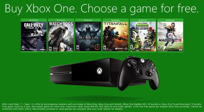 Illustration for article titled TAY Deal Blip - Buy an Xbox One, Choose a Free Game